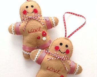 Gingerbread Christmas Ornaments / Felt Xmas Gingerbread Ornaments / Set of 2 / Handmade Xmas Gingerbread Ornaments / Gingerbread Ornaments