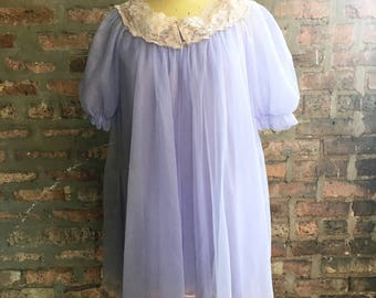 1960s Lavender Chiffon and Lace Peignoir Set by Lisette Small