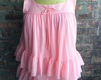 1960s Pink Babydoll Nylon Nightgown with Matching Panties