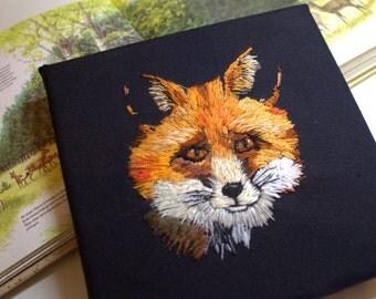 Fox wall art. Textile art. Embroidered art. Nature embroidery. Original needlework. Canvas. Thread painting. Original art. Fox art.