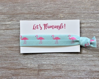 Pink Flamingo Bird Blue Hair Tie-Let's Flamingle!