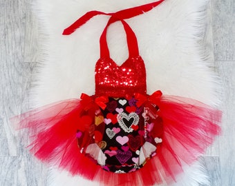 Valentine's Romper / Tutu / First Birthday / Baby Girl Outfit