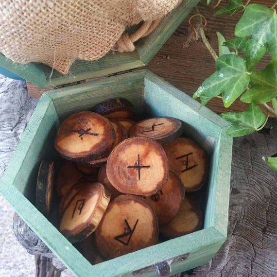 Celtic Runes Set, Viking Runes, Apple Runes,  Wooden Runes, Elder Futhark Runes, Rune Set, Druid