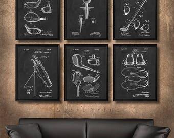 SET of 6 GOLF Vintage Art, Print or Canvas, Patent Wall Art Decor, Golf, Gift for Golfer, Golf Club, Golf Ball, Golf Tee, Golf Gift - s20