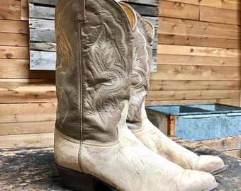 Vintage Tony Lama Cowboy Boots Vtg Grey White Leather Western Boots Made in USA Men's Size 11