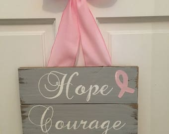 Hope, courage, strength breast cancer sign