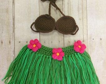 Hula outfit, Crochet hula outfit, Hula party, Hawaii themed party, Crochet grass skirt, Crochet coconut bra, Grass skirt, Photography prop