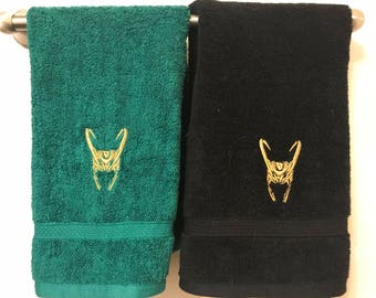 Loki Helmet Hand Towels - Embroidered Comic Book Geeky Bathroom or Kitchen Decor