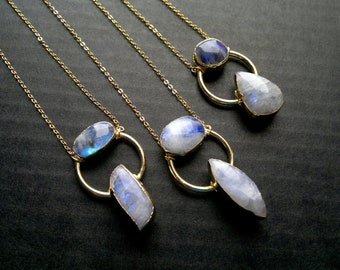 Gold Moonstone Necklace Moonstone Jewelry Moonstone Pendant Two Stone Necklace Moonstone Gemstone Necklace Stone Necklace Moon Stone