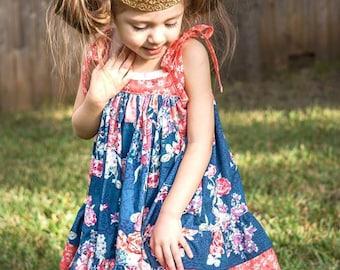 Navy Floral London Dress - Twirl Dress - Spring Dress - Girls Easter Dress - Birthday Dress - Party Dress - Church dress - Summer Dress