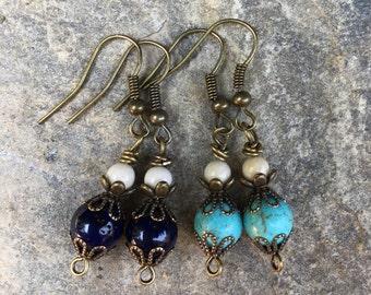 Bridesmaid earrings turquoise navy blue antiqued gold everyday earrings bohemian earrings boho jewelry set 4  5  6  7  8 victorian wedding