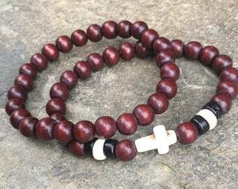mens wood bead bracelet set stretch bracelet mens bracelet women's bracelet cross bracelet wooden beaded bracelets mens cross bracelet