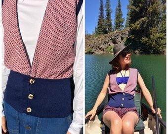 Sweater Vest Vintage 1970s Small Red & Navy Men's or Women's Vest XS