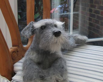 Schnauzer. Art Needle Felted Sculpture. One of a kind.