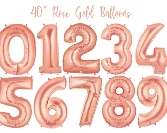 Rose Gold Number Balloon - 21st Birthday - Foil Number Balloon - Second Birthday Balloon - Silver Balloon - Pink Foil Balloon - Gold Balloon