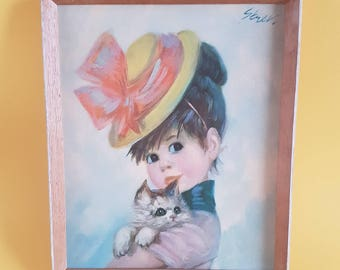Vintage kitsch Strev picture | Harriet | Big eyed girl with cat | Yellow hat | Cute