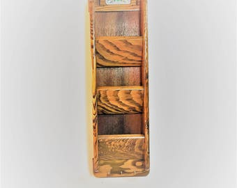 Vintage Wood Wall Mount Mail Organizer Sorter With Rooster Decor