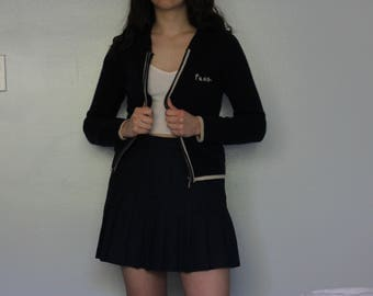 Vintage navy and white lambswool zip-up jacket / sweater