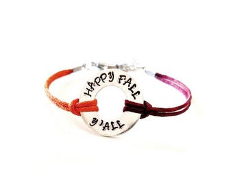 Happy Fall Y'all Hand Stamped Bracelet or Anklet YOU Select Your Cord Color