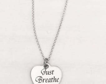 Just Breathe Sterling Silver Necklace You Choose Your Chain Length