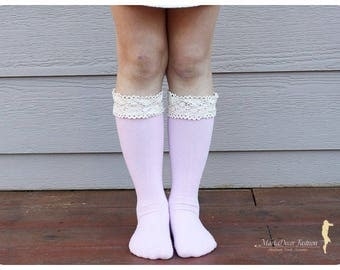 Boot Socks Kids Lacey Knitted Legwarmers Boot Topper Socks with Trim