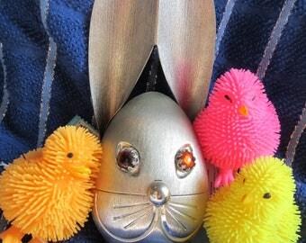 1960s Napier Metal Silver Tone Rabbit Piggy Bank