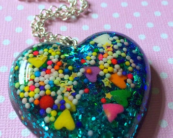 Magical Kawaii Heart Pendant / Glitter Heart Necklace / Heart Statement Necklace / Resin Heart Pendant / Pastel Goth Creepy Cute Jewelry
