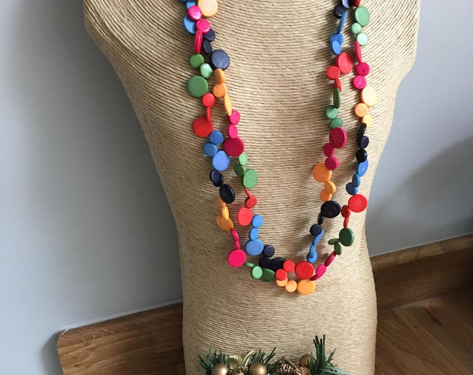 Coconut Shell Natural Necklace, Handmade, Fair trade & natural - Rainbow - Red, yellow, orange, green,blue and black