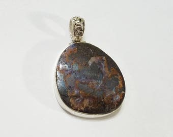 Natural Boulder Opal, Pendant, .925 Sterling Silver, Necklace, Focal, Beading, Jewelry, Supplies, Supply