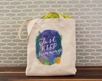 Just Keep Swimming Tote, Beach Tote, Ocean Tote, Nautical, Pool, Kids Tote, Heavy Duty Canvas Tote, Canvas Bag, Shoulder Bag, American Made