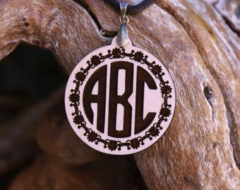 Custom Monogram Pendant Necklace - Laser Cut Homeade Engraved Women's Jewelry Gifts