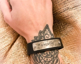 BREATHE Leather Cuff/Bracelet Stamped Metal  for Men and Women