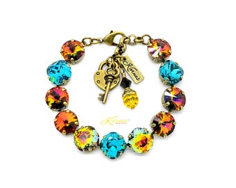 WARM AUTUMN NIGHTS 12mm Charm Bracelet Made With Swarovski Crystal *Choose Finish & Size *Karnas Design Studio™ *Free Shipping*