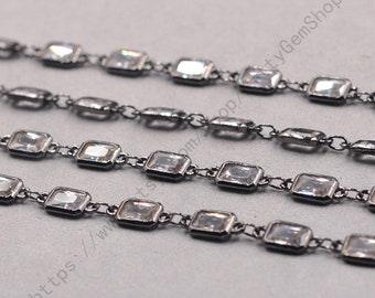 1ft, Retangle White Zircon Connector Chain With Black Gold Plated -- Faceted Rosary Chains Wholesale Handmade Craft Supply CQA-091