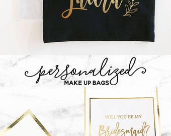 Makeup Bag Personalized - Christmas Gifts for Her - Cosmetic Bags Personalized - Makeup Bag Custom Name (EB3222P)