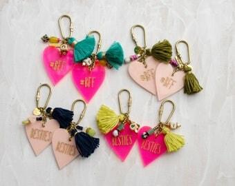 Best Friend Personalized heart keychains - Valentines day gift - gift for best friend, tassel, galentines day keychain, gift for her,