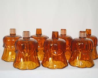 Seven Vintage Amber Votive Candle Holders