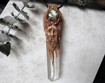 Cernunnos Necklace, Chunky Quartz Crystal Necklace, Celtic God Necklace, Polymer Clay Sculpture, Labradorite Necklace