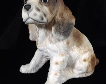 Large English Springer Spaniel Puppy Dog Figurine - Matte Japan China hand painted