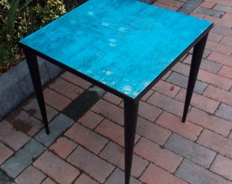 Retro Square Coffee / Side Table in Blue and Black