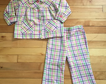 Vintage 1970s Toddler Girls Heath Tex Plaid Check Jacket Pants Outfit Set! Size 2T