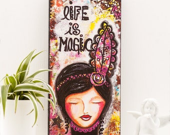 Magic Art - Free Spirit - Inspirational Art -  Boho Room Decor - Whimsical Art - Feather Art - Mixed Media Art - Living Room Artwork