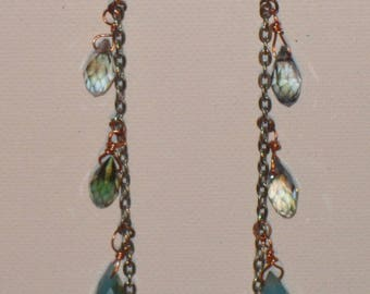 Silver Chain and Briolette Fantascy Earrings