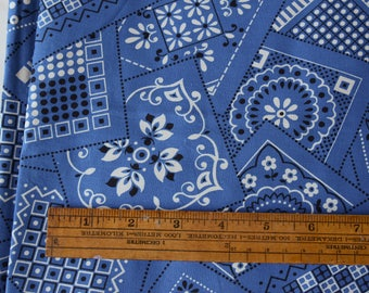 "BTY 1950s Bandana Fabric Blue Vintage 36"" wide 100% cotton - 84-B10"