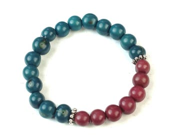 Teal Green, Red Acai Bead Bracelets, Boho Natural Beaded Bracelet, Acai Seeds, Eco Friendly, Stacking Bracelet, Sterling Silver
