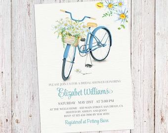 Tandem bicycle bridal shower invitations printed vintage bicycle bridal shower invitation couples shower bicycle invitation floral spring summer bridal invitation filmwisefo Choice Image