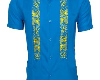 Y.A.Bera Clothing Mens Guayabera Shirt - Blue Turquoise & Yellow Stars Artwork with Pockets - Handmade in Yucatan Mexico