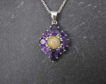 Vintage Sterling Amethyst Opal Pendant Necklace