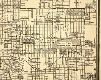 Portland Map Portland Street Map 1930s Oregon Original 1935