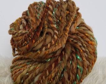 Hand Dyed Yarn. Orange Yarn. Wool Art Yarn. Hand Spun Yarn. Wool. Green Yarn. Shiny Tencel Yarn. Brown Yarn. Weaving Yarn. Knitting Yarn.